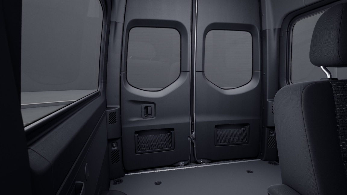 Sprinter Tourer, full panelling of hinged rear doors, stowage compartment with net in rear doors